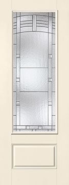 WDMA 34x96 Door (2ft10in by 8ft) Exterior Smooth Fiberglass Impact Door 8ft 3/4 Lite Maple Park 2