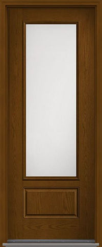 WDMA 34x96 Door (2ft10in by 8ft) Patio Oak Satin Etch 8ft 3/4 Lite 1 Panel Fiberglass Single Exterior Door HVHZ Impact 1