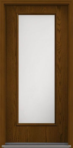 WDMA 34x96 Door (2ft10in by 8ft) Patio Oak Satin Etch 8ft Full Lite Flush Fiberglass Single Exterior Door HVHZ Impact 1