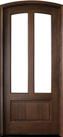 WDMA 36x108 Door (3ft by 9ft) French Mahogany Trinity 2 Lite Impact Single Door/Arch Top 1-3/4 Thick 1