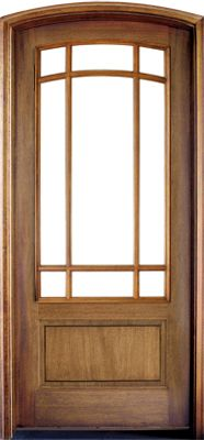 WDMA 36x108 Door (3ft by 9ft) French Mahogany Trinity SDL 9 Lite Impact Single Door/Arch Top 1-3/4 Thick 1