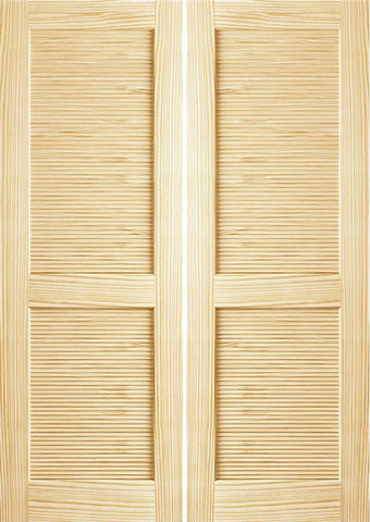 WDMA 36x80 Door (3ft by 6ft8in) Interior Swing Pine 80in Louver/Louver Clear Double Door 1