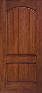 WDMA 36x80 Door (3ft by 6ft8in) Exterior Rustic Fiberglass Impact Door 6ft8in Arched 2 Panel Plank Soft Arch 1