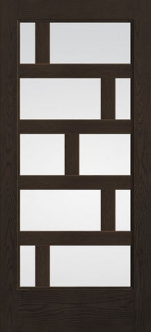 WDMA 36x80 Door (3ft by 6ft8in) Exterior Oak Contemporary Asymmetrical 10 Lite 6ft8in Full Lite Flush-Glazed Fiberglass Single Door 1