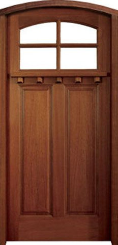 WDMA 36x80 Door (3ft by 6ft8in) Exterior Swing Mahogany Craftman Lakewood 4 Lite Single Door/Arch Top 1