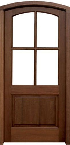 WDMA 36x80 Door (3ft by 6ft8in) Exterior Swing Mahogany Brentwood 4 Lite Single Door/Arch Top 1