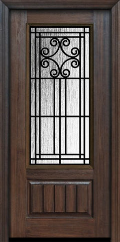 WDMA 36x80 Door (3ft by 6ft8in) Exterior Cherry Pro 80in 1 Panel 3/4 Lite Novara Door 1