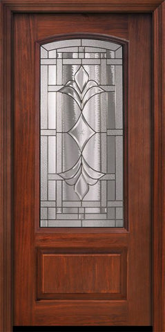 WDMA 36x80 Door (3ft by 6ft8in) Exterior Cherry Pro 80in 1 Panel 3/4 Arch Lite Marsala Door 1