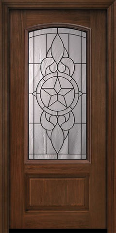 WDMA 36x80 Door (3ft by 6ft8in) Exterior Cherry Pro 80in 1 Panel 3/4 Arch Lite Brazos Door 1
