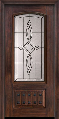 WDMA 36x80 Door (3ft by 6ft8in) Exterior Cherry Pro 80in 1 Panel 3/4 Arch Lite Marsais Door 1