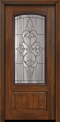 WDMA 36x80 Door (3ft by 6ft8in) Exterior Cherry Pro 80in 1 Panel 3/4 Arch Lite Courtlandt Door 1