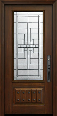 WDMA 36x80 Door (3ft by 6ft8in) Exterior Cherry Pro 80in 1 Panel 3/4 Lite Remington Door 1