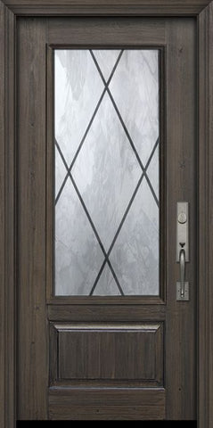 WDMA 36x80 Door (3ft by 6ft8in) Exterior Cherry Pro 80in 1 Panel 3/4 Lite Sandringham Door 1