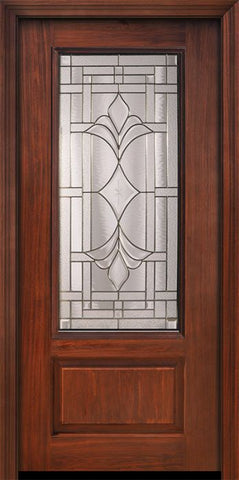 WDMA 36x80 Door (3ft by 6ft8in) Exterior Cherry Pro 80in 1 Panel 3/4 Lite Marsala Door 1