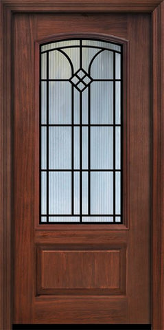 WDMA 36x80 Door (3ft by 6ft8in) Exterior Cherry Pro 80in 1 Panel 3/4 Arch Lite Cantania Door 1
