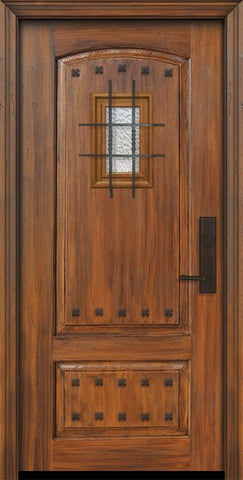 WDMA 36x80 Door (3ft by 6ft8in) Exterior Cherry Pro 80in 2 Panel Arch Door with Speakeasy / Clavos 1