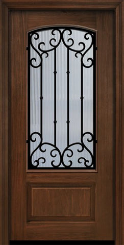 WDMA 36x80 Door (3ft by 6ft8in) Exterior Cherry Pro 80in 1 Panel 3/4 Arch Lite Valencia Door 1
