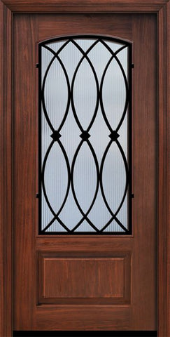 WDMA 36x80 Door (3ft by 6ft8in) Exterior Cherry Pro 80in 1 Panel 3/4 Arch Lite La Salle Door 1