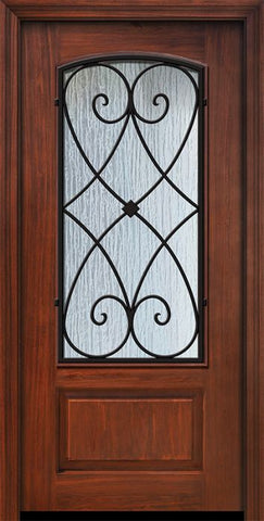WDMA 36x80 Door (3ft by 6ft8in) Exterior Cherry Pro 80in 1 Panel 3/4 Arch Lite Charleston Door 1