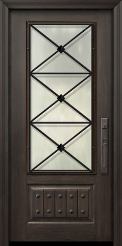 WDMA 36x80 Door (3ft by 6ft8in) Exterior Cherry Pro 80in 1 Panel 3/4 Lite Republic Door 1