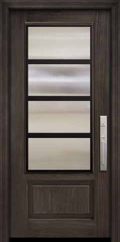 WDMA 36x80 Door (3ft by 6ft8in) Exterior Cherry Pro 80in 1 Panel 3/4 Lite Urban Steel Grille Door 1