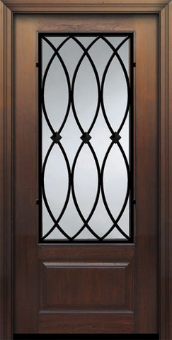 WDMA 36x80 Door (3ft by 6ft8in) Exterior Cherry Pro 80in 1 Panel 3/4 Lite La Salle Door 1