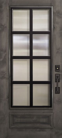 WDMA 36x80 Door (3ft by 6ft8in) Exterior Knotty Alder 36in x 80in 3/4 Lite Minimal Steel Grille Estancia Alder Door 1