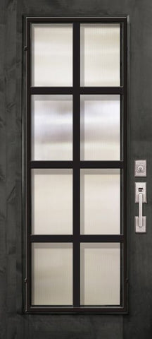 WDMA 36x80 Door (3ft by 6ft8in) Exterior Knotty Alder 36in x 80in Full Lite Minimal Steel Grille Estancia Alder Door 1