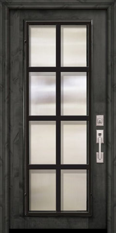 WDMA 36x80 Door (3ft by 6ft8in) Exterior Knotty Alder 36in x 80in Full Lite Minimal Steel Grille Estancia Alder Door 2