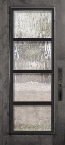 WDMA 36x80 Door (3ft by 6ft8in) Exterior Knotty Alder 36in x 80in Full Lite Urban Steel Grille Estancia Alder Door 1
