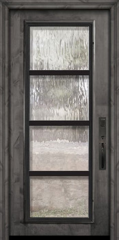 WDMA 36x80 Door (3ft by 6ft8in) Exterior Knotty Alder 36in x 80in Full Lite Urban Steel Grille Estancia Alder Door 2