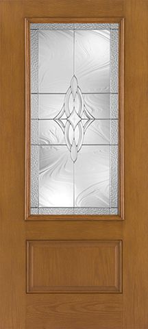 WDMA 36x80 Door (3ft by 6ft8in) Exterior Oak Fiberglass Impact Door 3/4 Lite Wellesley 6ft8in 1