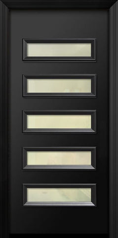 WDMA 36x80 Door (3ft by 6ft8in) Exterior 80in ThermaPlus Steel Beverly Contemporary Door w/Textured Glass 1
