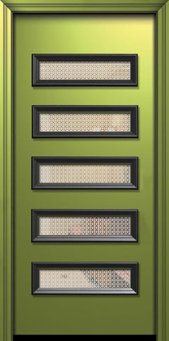 WDMA 36x80 Door (3ft by 6ft8in) Exterior 80in ThermaPlus Steel Beverly Contemporary Door w/Metal Grid / Clear Glass 1