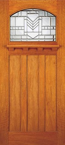 WDMA 36x84 Door (3ft by 7ft) Exterior Mahogany Single Door Arched Lite Glass Mission Style 1