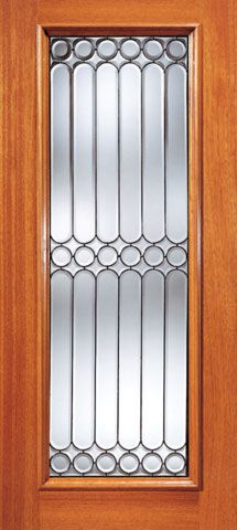 WDMA 36x84 Door (3ft by 7ft) Exterior Mahogany Symmetrical Design Beveled Glass Front Single Door Full Lite 1