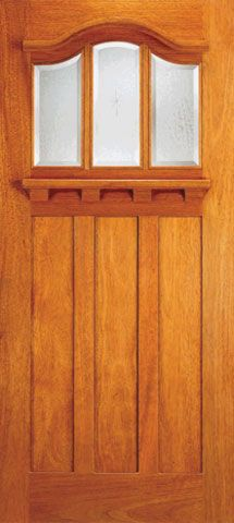 WDMA 36x84 Door (3ft by 7ft) Exterior Mahogany Arched 3-Lite Glass Craftsman Single Door 1