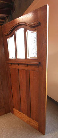 WDMA 36x84 Door (3ft by 7ft) Exterior Mahogany Arched 3-Lite Glass Craftsman Single Door 4