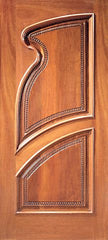 WDMA 36x84 Door (3ft by 7ft) Exterior Mahogany Single Door Hand Carved Arch Panels in Left 1