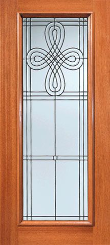 WDMA 36x84 Door (3ft by 7ft) Exterior Mahogany Celtic Design Beveled Glass Front Door Triple Glazed Glass Option 1