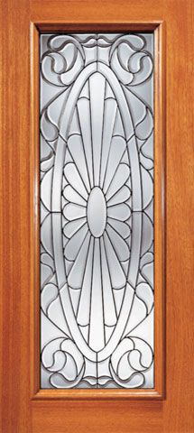 WDMA 36x84 Door (3ft by 7ft) Exterior Mahogany Contemporary Oval Design Beveled Glass Front Single Door Full Lite 1