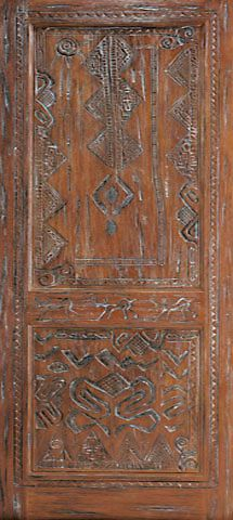 WDMA 36x84 Door (3ft by 7ft) Exterior Mahogany African Style Hand Carved Single Door 1