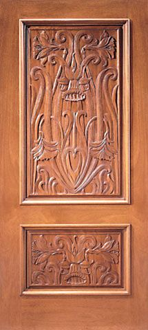 WDMA 36x84 Door (3ft by 7ft) Exterior Mahogany Single Door Colonial Hand Carved 2-Panel in  1