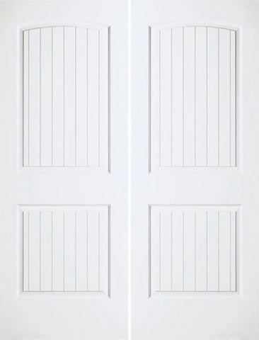 WDMA 36x96 Door (3ft by 8ft) Interior Swing Smooth 96in Santa Fe Hollow Core Double Door|1-3/8in Thick 1