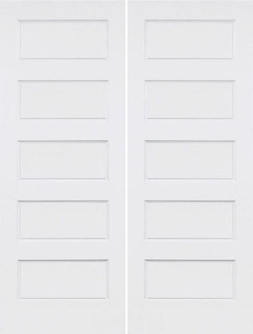 WDMA 36x96 Door (3ft by 8ft) Interior Swing Smooth 96in Conmore 5 Panel Shaker Hollow Core Double Door|1-3/8in Thick 1