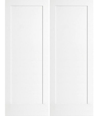 WDMA 36x96 Door (3ft by 8ft) Interior Swing Smooth 96in 1 Panel Primed Shaker 1-3/8in Double Door 1
