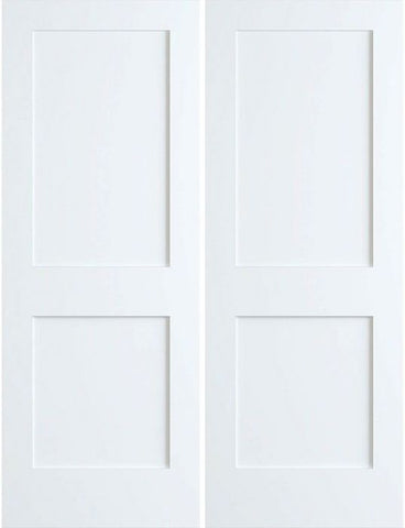 WDMA 36x96 Door (3ft by 8ft) Interior Swing Pine 96in Primed 2 Panel Shaker Double Door | 4102 1