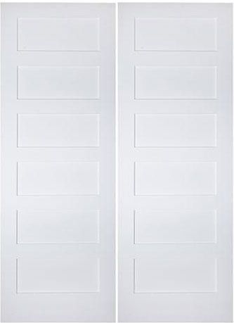 WDMA 36x96 Door (3ft by 8ft) Interior Barn Smooth 96in 6 Panel Primed Shaker 1-3/8in Double Door 1