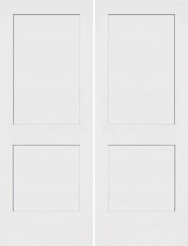 WDMA 36x96 Door (3ft by 8ft) Interior Barn Smooth 96in Monroe 2 Panel Shaker Solid Core Double Door|1-3/8in Thick 1