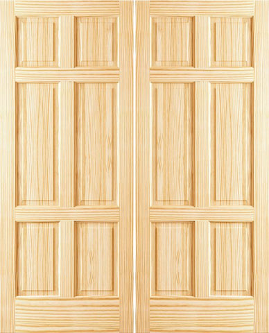 WDMA 36x96 Door (3ft by 8ft) Interior Swing Pine 96in 6 Panel Clear Double Door 1